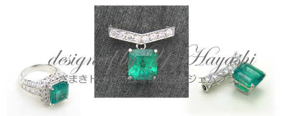エメラルドリングからリフォームしたダイヤ入り小ぶりなブローチ