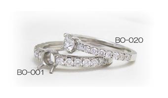 ダイヤモンドのリフォーム用リング枠の太さの違う商品の比較画像