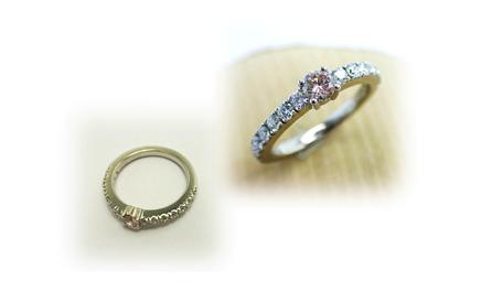 オーダーメイド、ピンクダイヤとメレダイヤのシンプルなリング