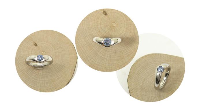 オーダーメイドでお造りしたブルーダイヤモンドのポッテリとした指輪