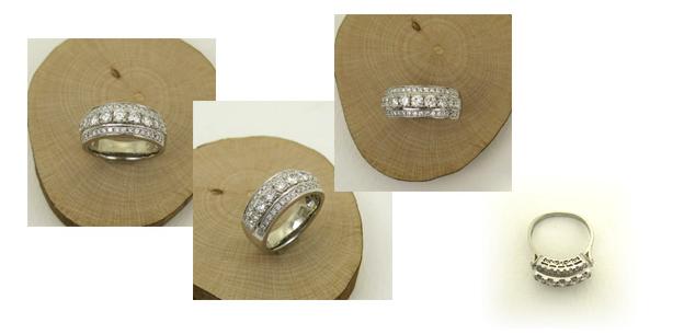 曲がった指輪のリフォーム。メレダイヤを足し、幅広で大人っぽく。