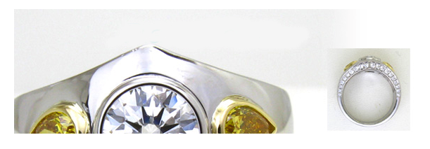 1ctダイヤとイエローダイヤのボリュームリングのオーダーメイド