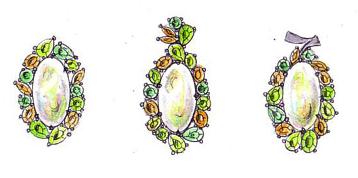 オパールと色石のリフォームペンダントのためのデザイン画