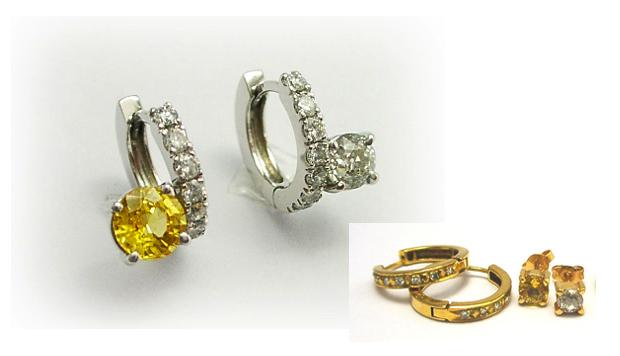 イエローサファイアとダイヤモンド、左右色の違う個性的なピアス