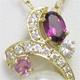 色石、ダイヤ、真珠の花束のようなペンダントにリフォームいたしました