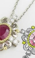 リフォームで制作したルビーとダイヤモンドの大ぶりなペンダント