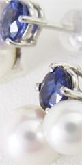 ジュエリーリフォームで制作したサファイヤと真珠のピアス