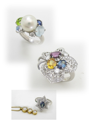 複数石を使った指輪のリフォーム画像