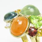 キャンディカラーの色石を多数使用、オーダーメイドボリュームリング