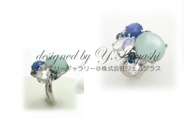 いろいろな色石を組み合わせた指輪オーダーメイドリング