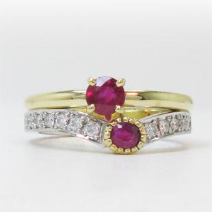 ルビーのペンダントと指輪、合わせて1つの指輪へのイメージ