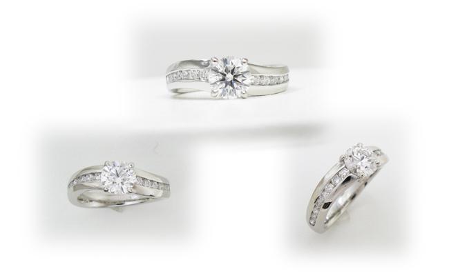 ひねりデザイン、地金太めのダイヤモンドリフォーム用指輪枠