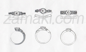 ダイヤモンドの指輪のデザイン画
