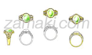 翡翠の指輪のデザインご提案例