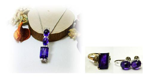 アメシストとダイヤモンドのペンダント、指輪とイヤリングからリフォーム