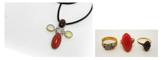 珊瑚、オパール、ガーネットのペンダントの指輪からペンダントへリフォーム