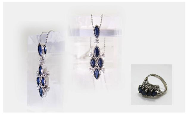 サファイヤとダイヤモンドのペンダントのリフォーム