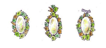 オパールと色石のブローチ兼ペンダントのデザイン画