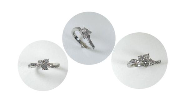 3ピースのダイヤモンドを花に見立てた指輪へリフォーム