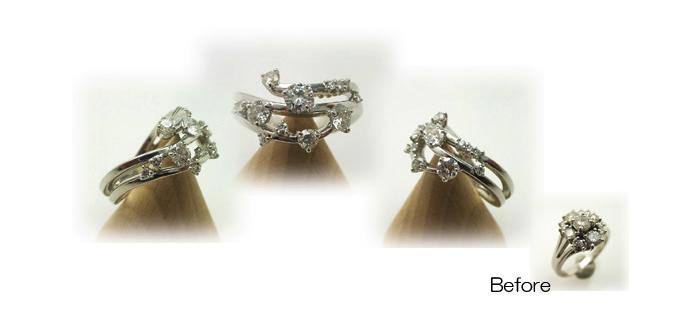 サイズの違うダイヤが蔦の様に指に絡まるデザインの指輪へリフォーム