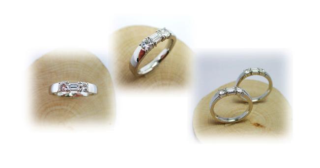 1つの指輪から同じデザインの指輪2本制作、形見分けリフォーム