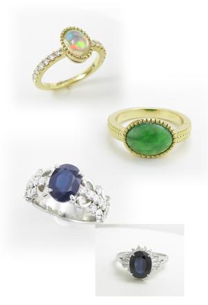 さまざまな色石の指輪のリフォーム画像