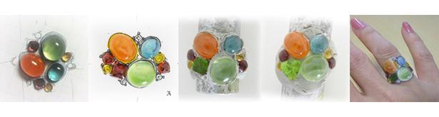 マルチカラーの色石指輪の製作途中。実物大のデザイン画でチェック