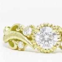 リフォーム用指輪空枠。蔦模様メレダイヤ入りアームの華やかデザイン