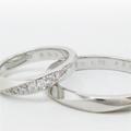 セミオーダーマリッジリング、婚約指輪、メレダイヤ、ひねりデザイン