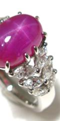 スタールビー、オーダーメイド、指輪、マーキスカットダイヤモンド